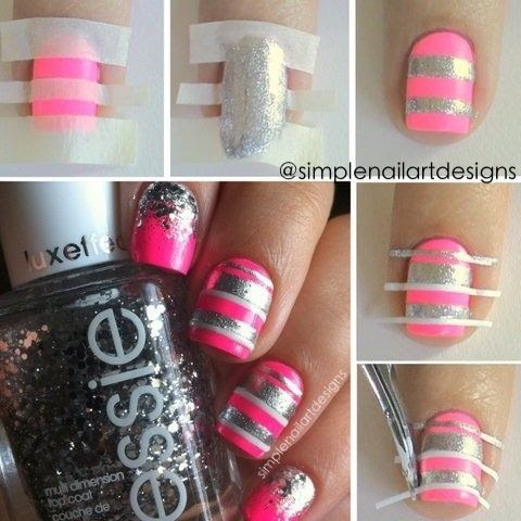 Pink and Sliver Stripe Nails