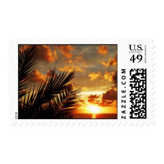 Golden Sunset Sea and Palmtree Postage