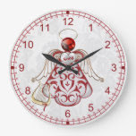 Red Filigree Christmas Angel of Song Wall Clocks