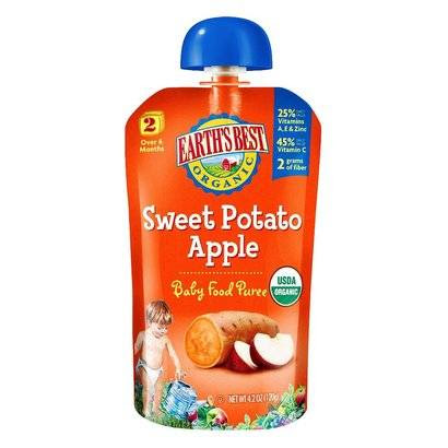 Earth's Best Baby Foods Organic Stage 2 - Sweet Potato Apple Baby Food Puree 4 oz (12 Pack)