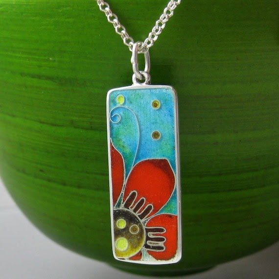 Hand Crafted Enamel House Necklace Pendant Copper Home: Handmade Jewelry Of The Day: Flor Cloisonne Enamel