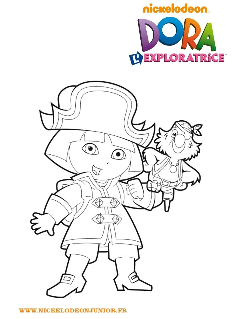 Coloriage de Dora habillée en pirate