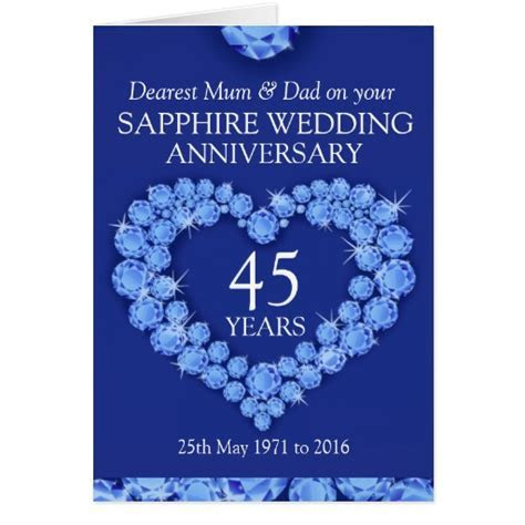 Sapphire wedding anniversary mum and dad card   Zazzle