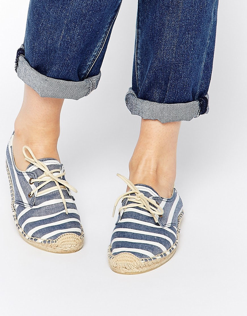Image 1 ofSoludos Derby Navy Stripe Lace Up Espadrille Flat Shoes
