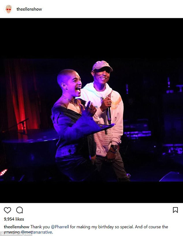 Thanks: Pharrell also got a special shout-out from Ellen after performing at the birthday bash