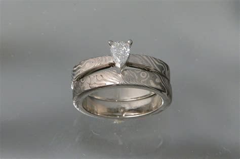 Custom Made 14kt Palladium White Gold Mokume Gane' Wedding