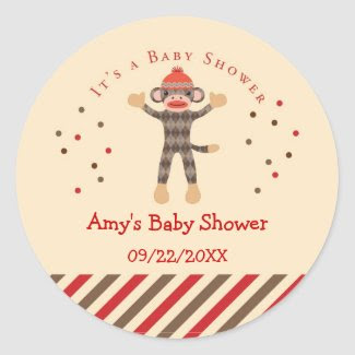 Sock Monkey Baby Shower Favor Sticker