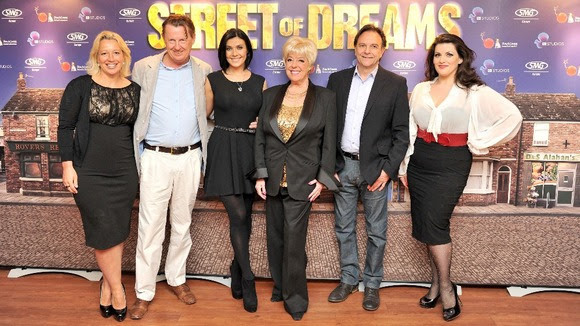 (left to right) Katy Cavanagh, Kevin Kennedy, Kym Marsh, Julie Goodyear, Brian Capron and West End star Jodie Prenger