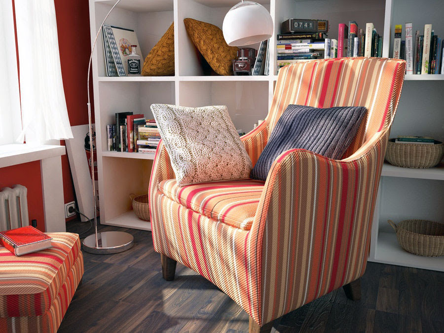 Stylish Modern Reading Corner with Red Chair Ideas - Interior ...