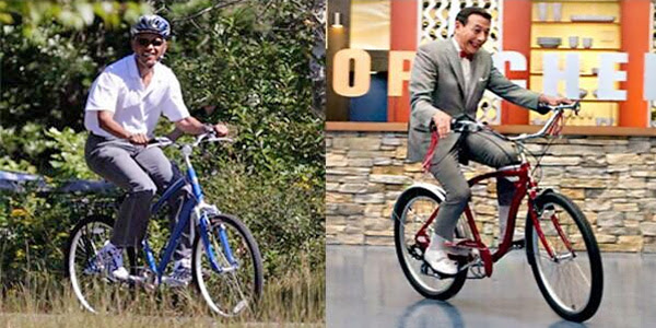 President Obama (left) and Pee-Wee Herman (right)