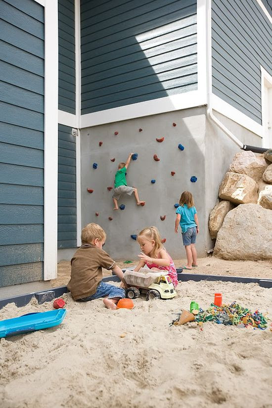 Climbing wall as part of the house. Make your entire yard a play world!
