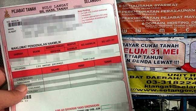 Cukai Tanah Selangor 2017 Tautan L