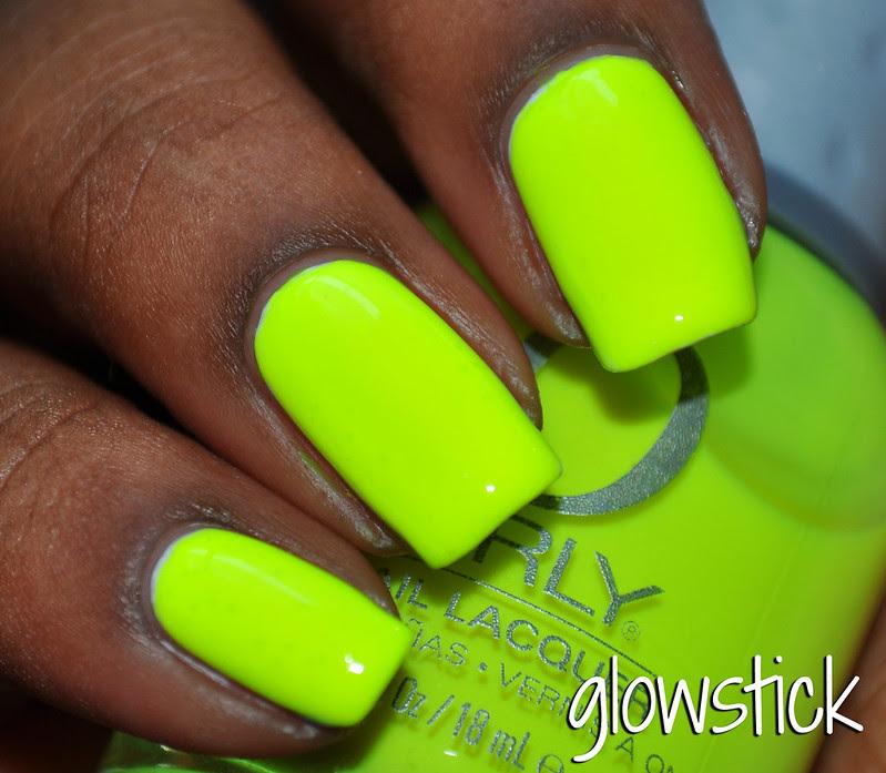 neon yellow over white nail polish