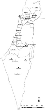 Thumbnail of Selected localities (black dots) where cases of cutaneous leishmaniasis were reported in Israel during 2001–2012. Health districts are labeled in boldface.
