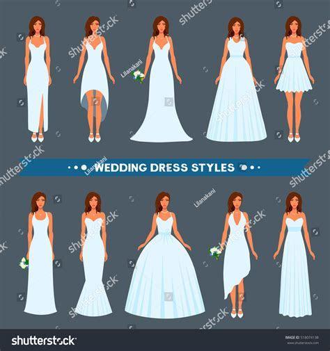 Variety Styles Types Fashions Wedding Dress Stock Vector