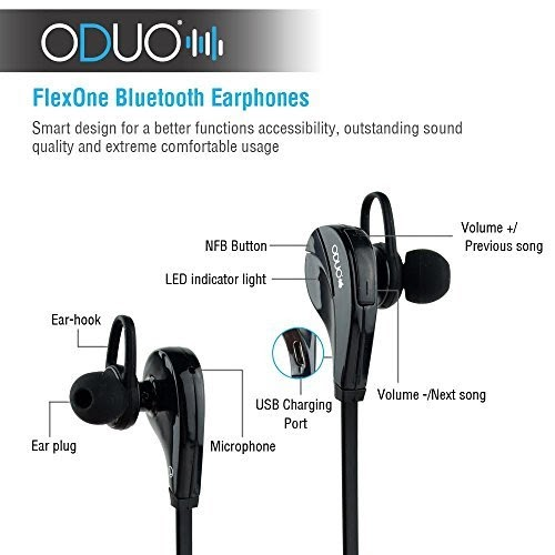bluetooth headphone reviews oduo flexone 2nd version bluetooth 4 0 headset. Black Bedroom Furniture Sets. Home Design Ideas