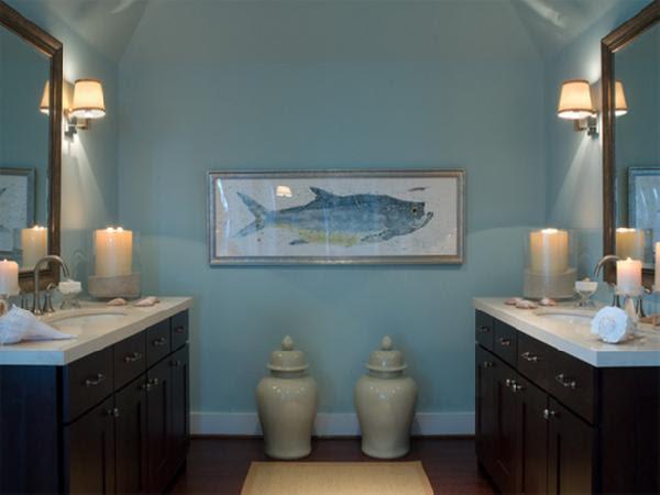 Blue and Brown Bathroom - Cottage - bathroom - HGTV