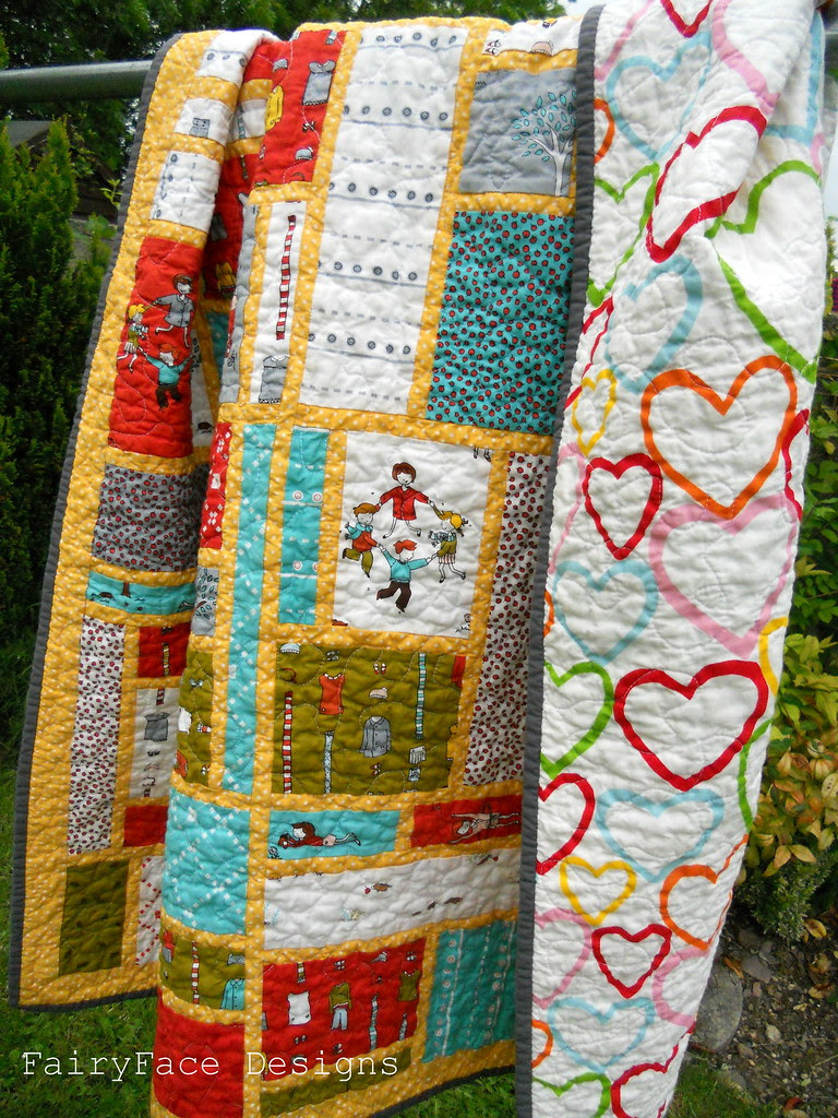 Little Apples Stained Quilt with backing