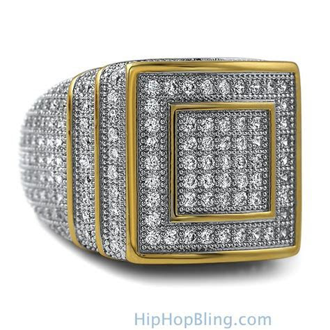Ice Stacked Gold CZ Micro Pave Iced Out Ring   Gold CZ