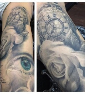 Stunning Blue Eyes And Watch With Rose Tattoo Tattoomagz