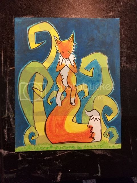 Fox Painting Work In Progress (c) Emily White 2017  zombietoes.com