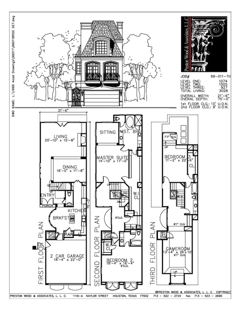 Urban Townhome Floor Plans Town House Development Row