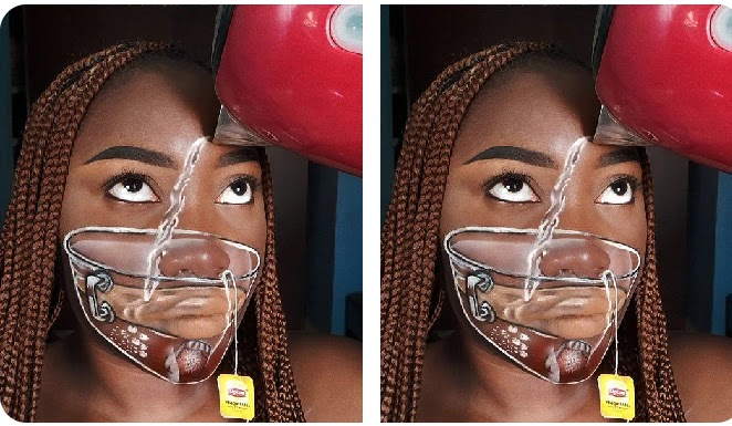 PHOTOS: Lady displays a great make-up skill, draws dangling Lipton yellow label tea on her face