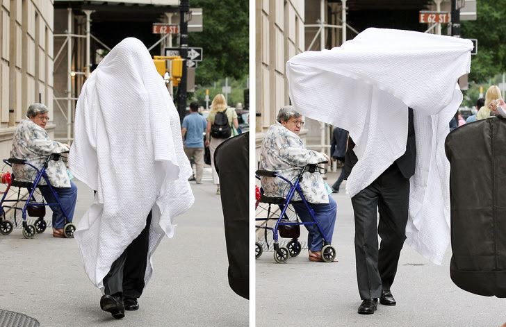 16 - Even a blanket can't help Alec Baldwin hide from the cameras.