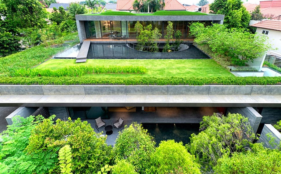 modern house with underground courtyard and rooftop gardens 1