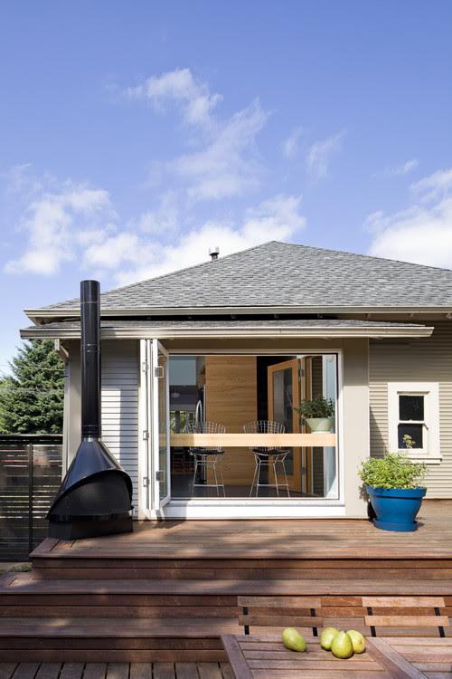 Rear elevation from lower deck modern patio