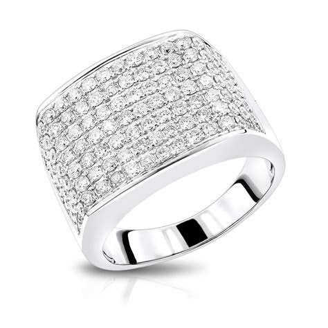 2 Carat Mens Diamond Ring in 14K Gold Large Diamond Band