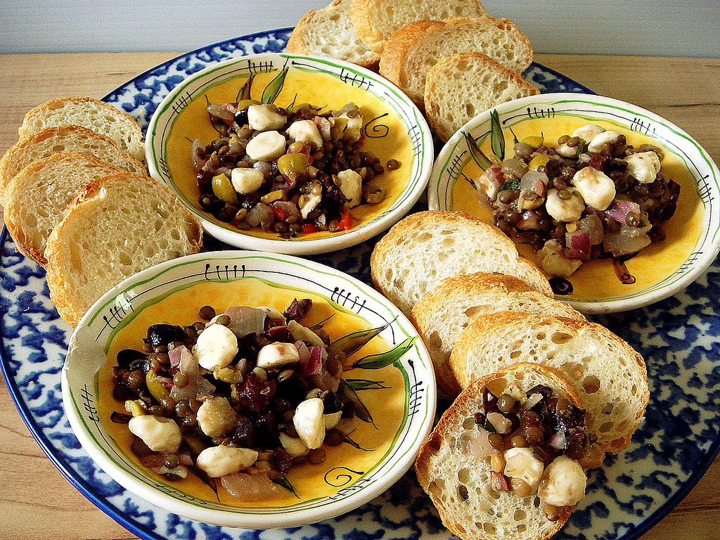 lentil olive salad with fresh mozzarella