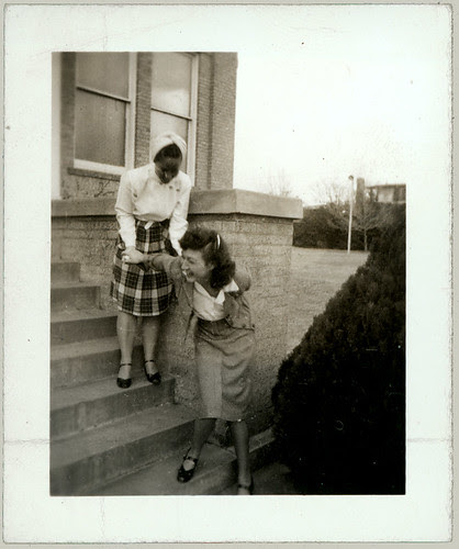 Two girls on the steps