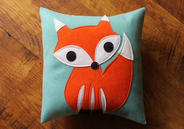 Fox Pillow in Light Aqua