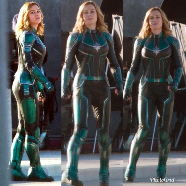 Photos of Brie Larson in costume on the set of 2019's CAPTAIN MARVEL.