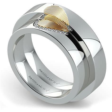 Matching Heart Fingerprint Inlay Wedding Ring Set in