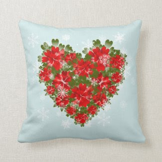 Red Poinsettia Heart And Snowflakes Christmas Pillow