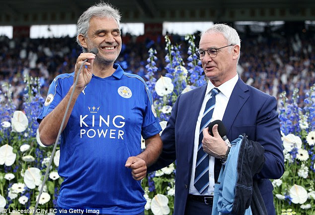 Italian tenor Andrea Bocelli was accompanied by compatriot Ranieri as he sang ahead of the Everton clash