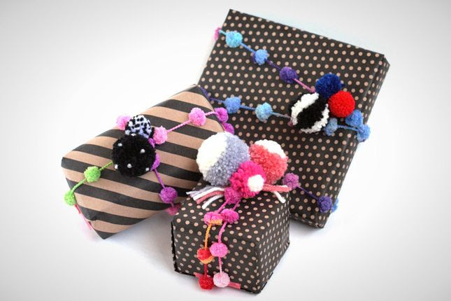 Use pom pom yarn for fun and festive gift wrapping.