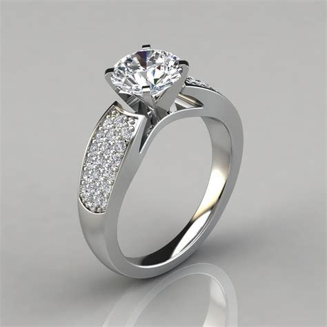 Wide Band Engagement Ring with Accents   Forever Moissanite