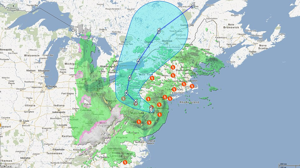 Journey: Graphic showing the current position of the superstorm after it swept up the East Coast