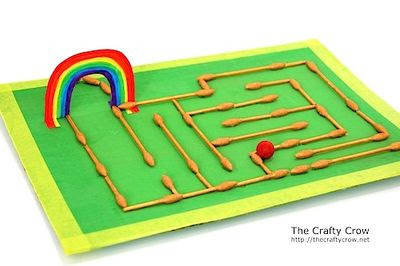 The Crafty Crow q-tip marble maze