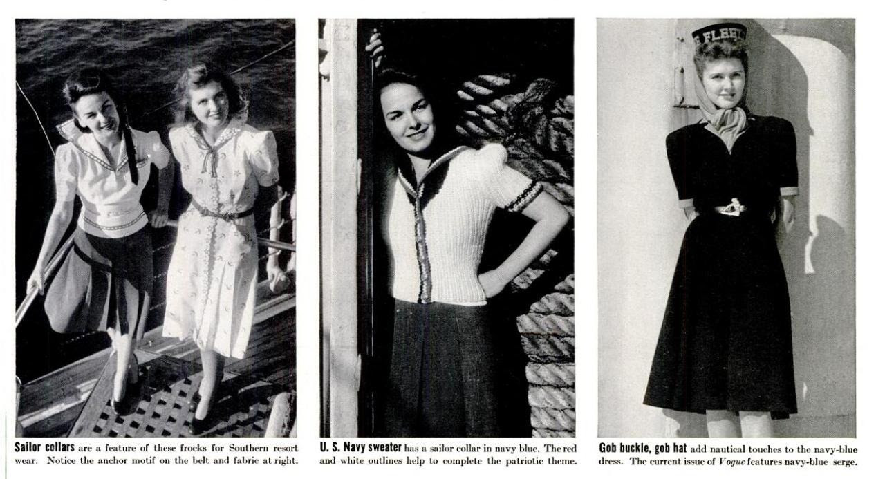 Adorable 1940s nautical fashions from Life magazine. (more on my blog)