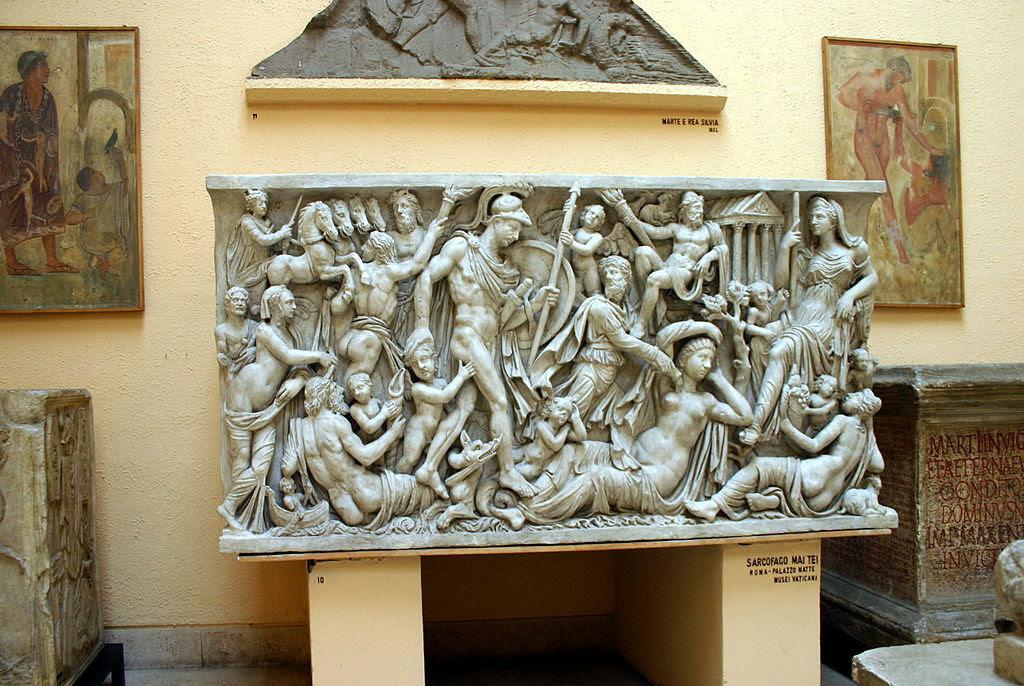 0453 - Rom, Museum.  Romerska civilisationen - sarkofag Foto Bild från Mattei, 12 Apr-2008.jpg