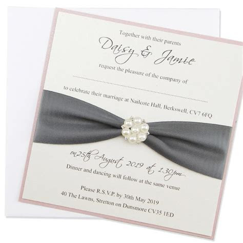 Layered Square with Pearl Cluster Wedding Invitation