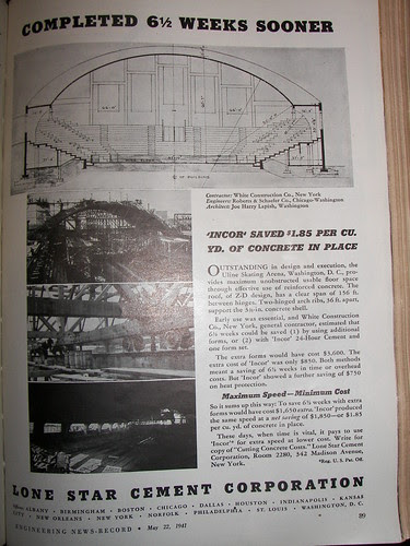 Lone Star Cement ad, 1941, discussing the Uline Arena construction process