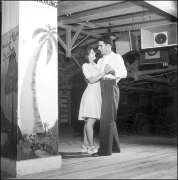 Al and Roey Stickles dancing at the trailer park: Sarasota, Florida (1946)