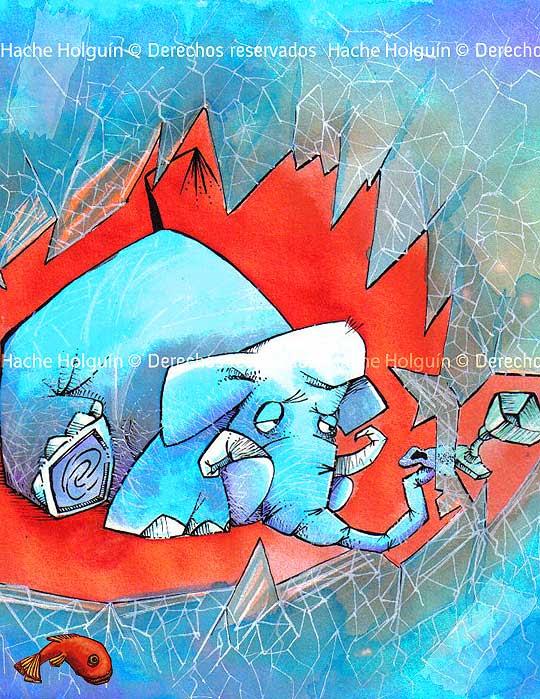 Ilustración de Un elefante en la cristalería por Hache Holguín