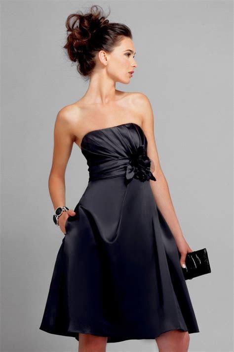 Black Strapless Knee length Sash Floral chiffon Satin
