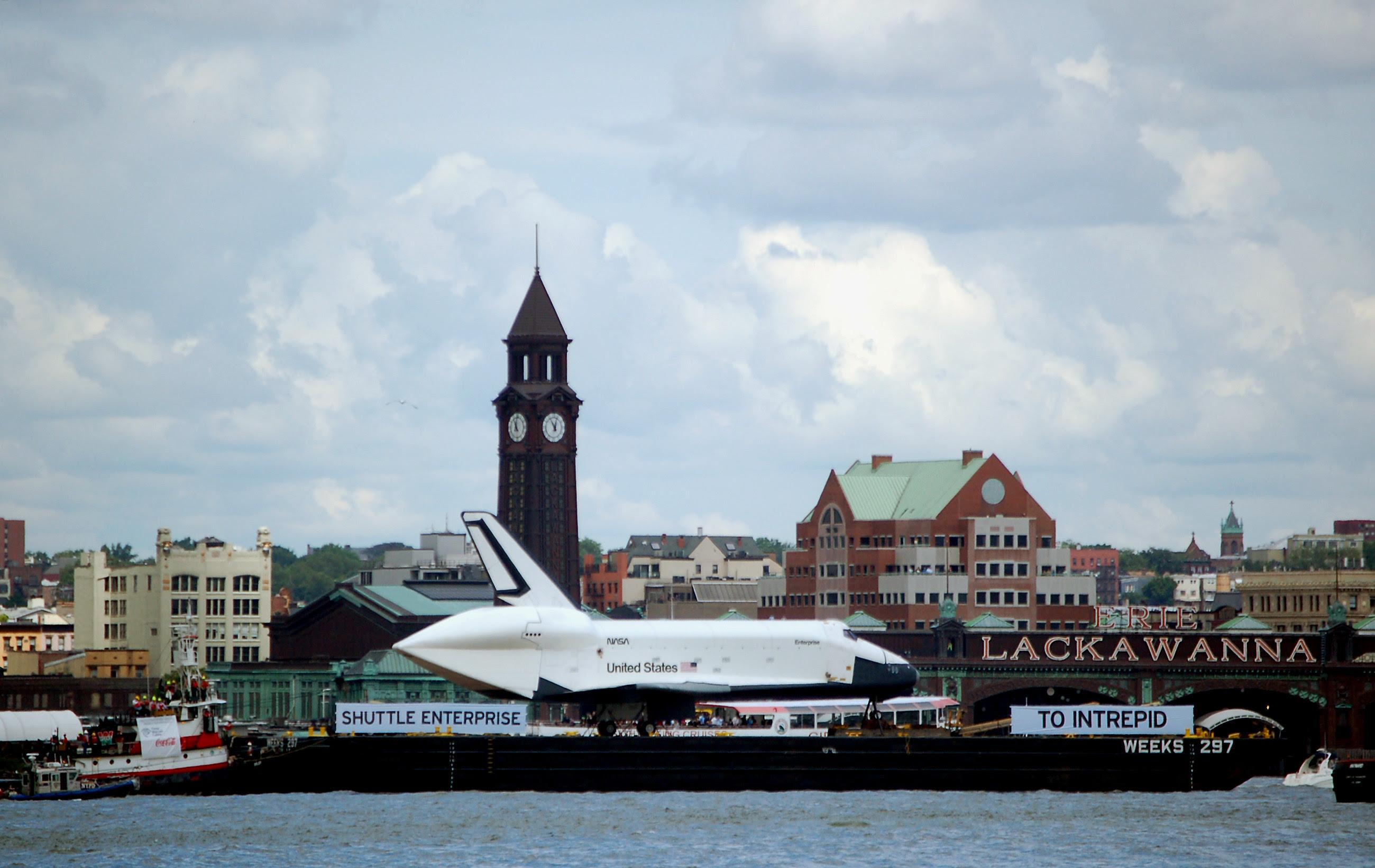 Space Shuttle Enterprise sails up the Hudson